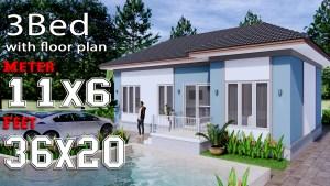 House Design Plans 11x6 Meters 36x20 Feet 3 Bedrooms Hip Roof c1