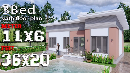 House Design Plans 11x6 Meters 36x20 Feet 3 Bedrooms Shed Roof c1