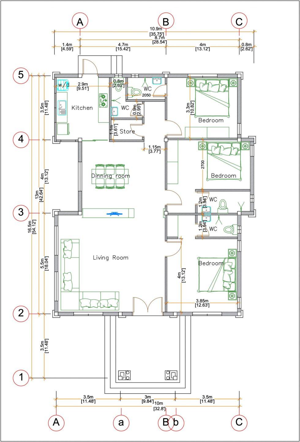 House Plans 33x54 feet 10x16 meter 3 Bedrooms Hip Roof floor plan
