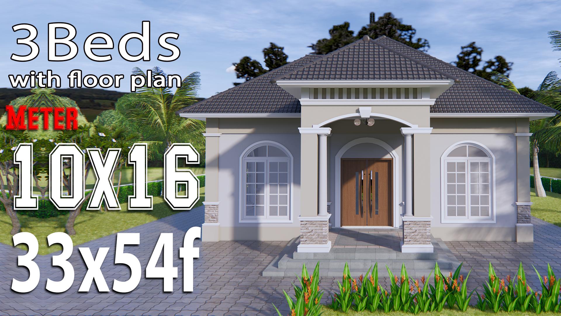 House Plans 33x54 Feet 10x16 Meter Hip Roof Samhouseplans