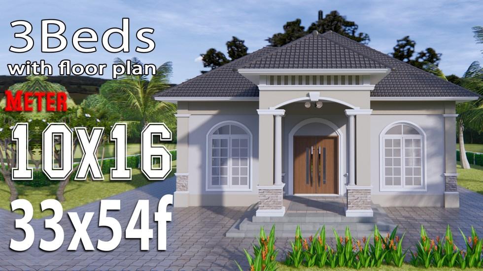 House Plans 33x54 feet 10x16 meter 3 Bedrooms Hip Roof