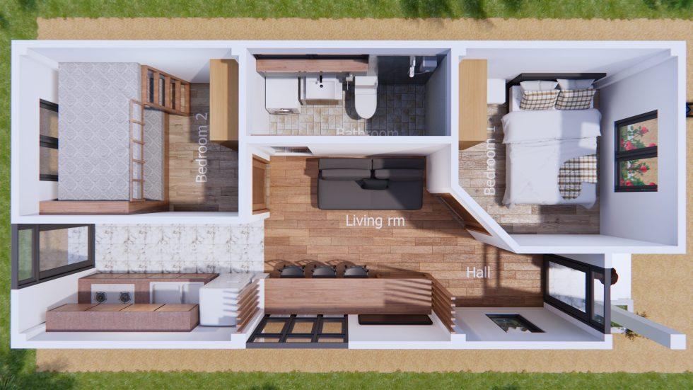 Tiny House Design 4x9 Meters Gable Roof Samhouseplans