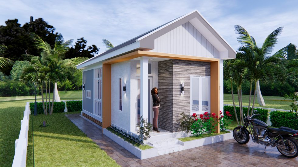 Tiny House Design 4x9 Meters 2 Bathroom Gable Roof 2