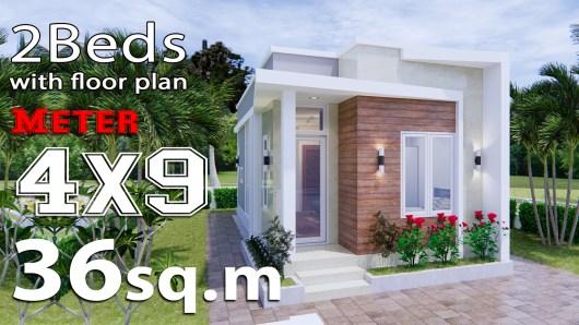 Tiny House Plans 4x9 Meters 2 Bathroom Terrace Roof