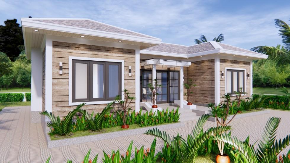 3d House Drawing 13x7.5 Meter 43x25 Feet 3 Beds 1