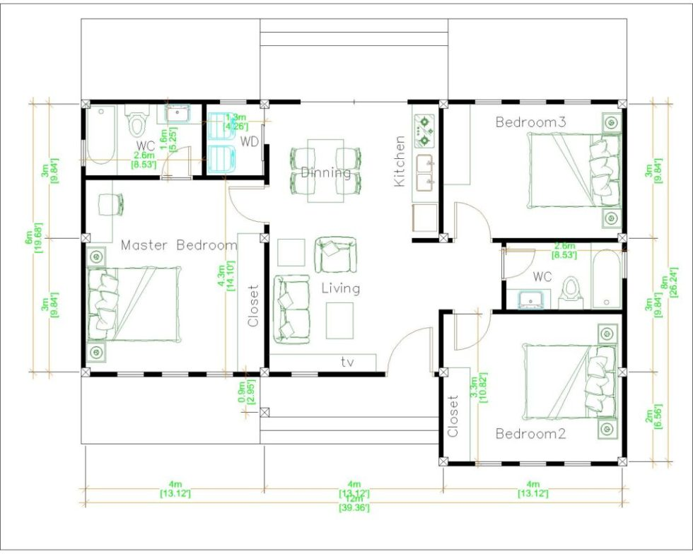 Luxury House Plans 12x8 Meters 40x26 Feet 3 Beds layout Floor plan