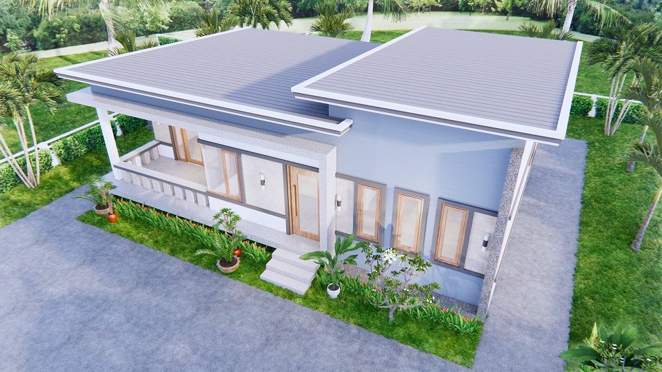 1 Story Modern House 12x12 Meters 40x40 Feet 3 Beds 5