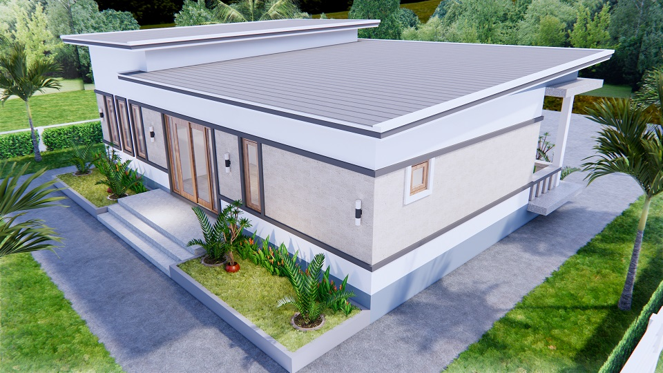 1 Story Modern House 12x12 Meters 40x40 Feet 3 Beds 6