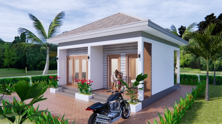 Small House Design 7x7 Meter 23x23 Feet One Bed Front 3d 3