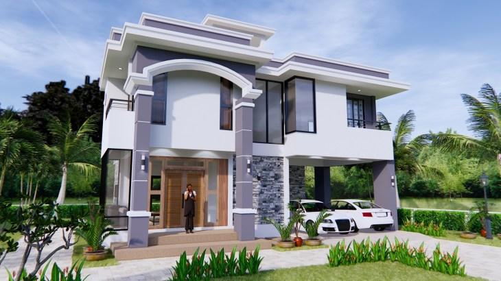 House Design 11x8 Meter 36x26 Feet 3 Beds 3