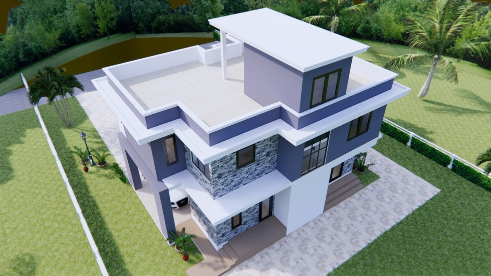 House Design 11x8 Meter 36x26 Feet 3 Beds 6