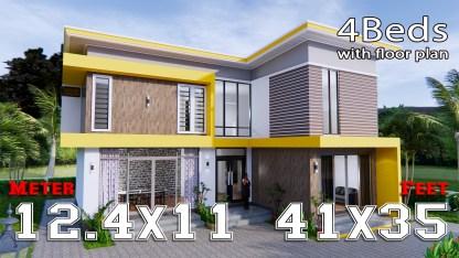 House Design 12.4x11 Meter 41x35 Feet 4 Beds