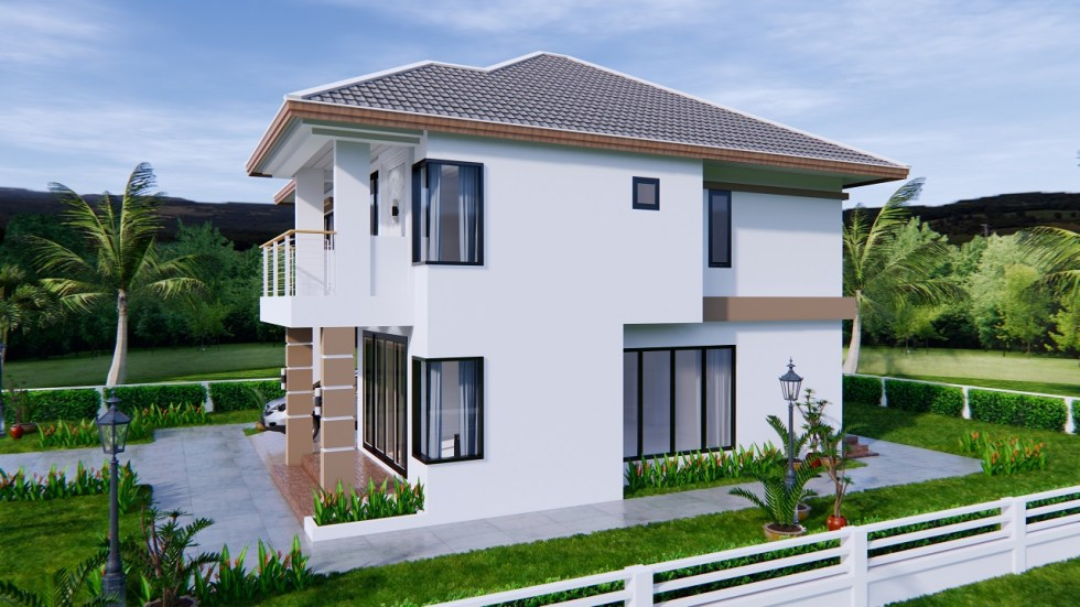 House Design 9x11 Meter 30x36 Feet 4 Beds 4