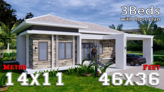 House Plans 14x11 Meter 46x36 Feet 3 Beds