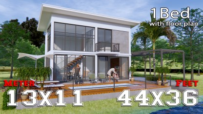 Lake House Plans 13x11 Meter 44x36 Feet