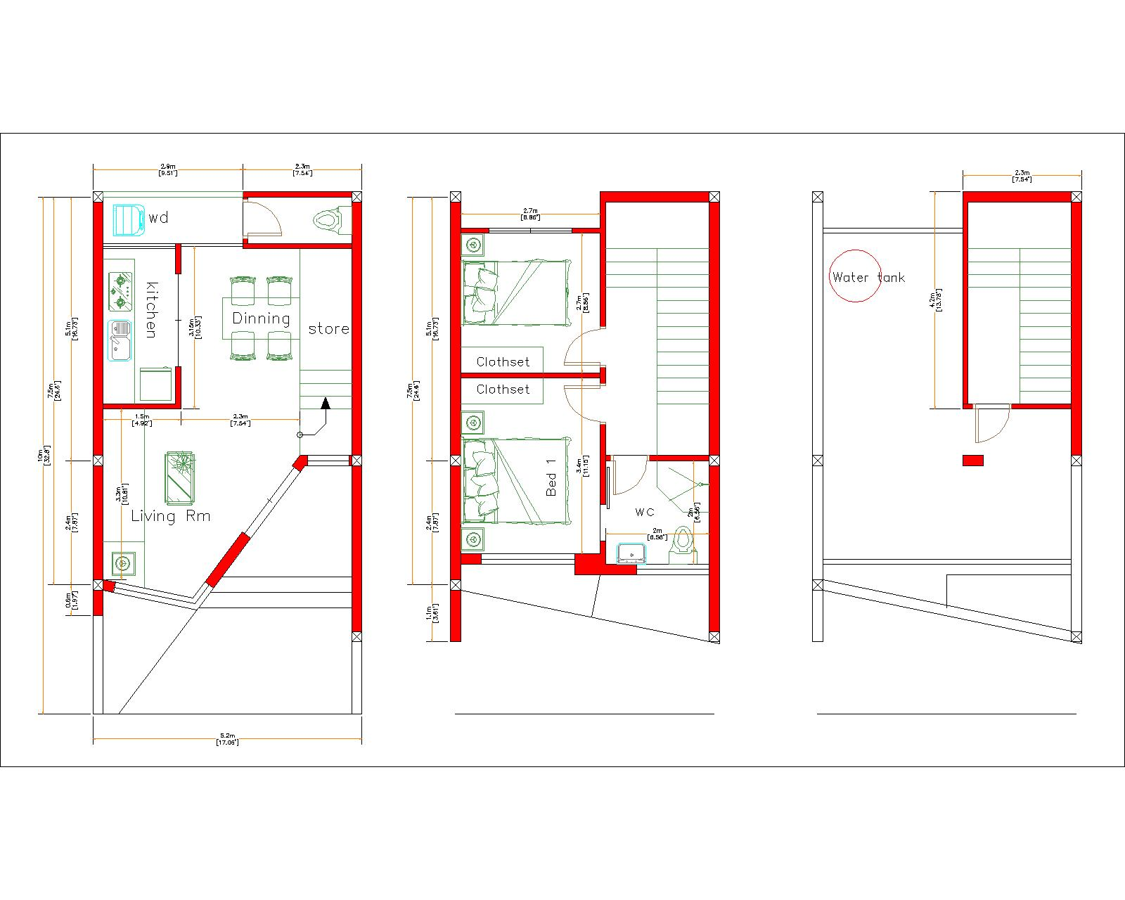 Home Designs 5x10 Meter 17x33 Feet 2 Beds Layout floor plan 5x10