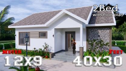 Modern House Drawing 12x9 Meter 40x30 Feet 2 Beds