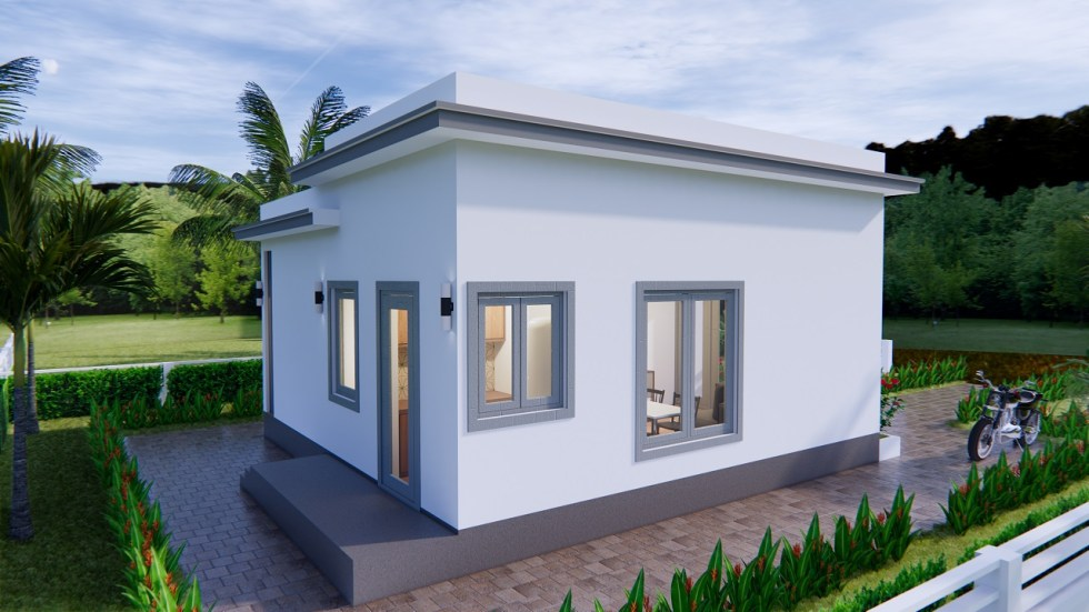 Modern Small House Design 7x7 Meter 23x23 Feet One Bed 6