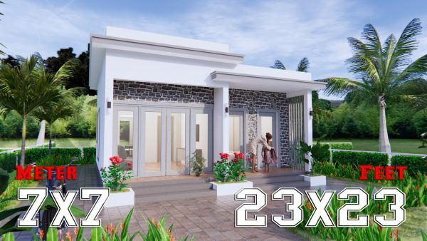 Modern Small House Design 7x7 Meter 23x23 Feet One Bed