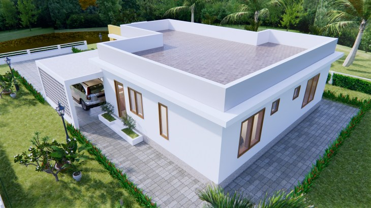 New House Design 12x14 Meter 40x46 Feet 2 Beds 7