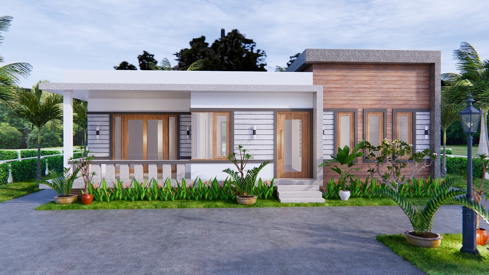 One Level House Plans 12x12 Meters 40x40 Feet 3 Beds 2