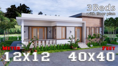 One Level House Plans 12x12 Meters 40x40 Feet 3 Beds