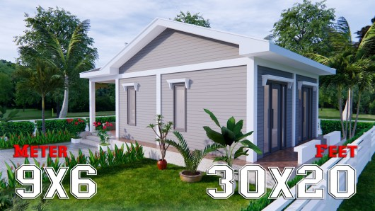 Small Cottage Designs 9x6 Meter 30x20 Feet 2 Beds