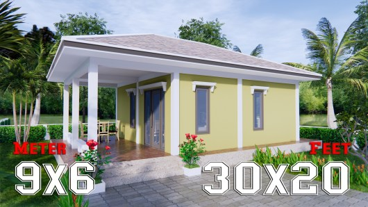 Small Farmhouse Plans 9x6 Meter 30x20 Feet 2 Beds