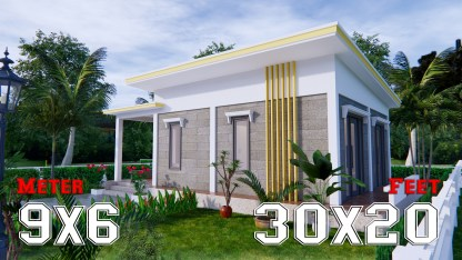 Small Home Floor Plans 9x6 Meter 30x20 Feet 2 Beds