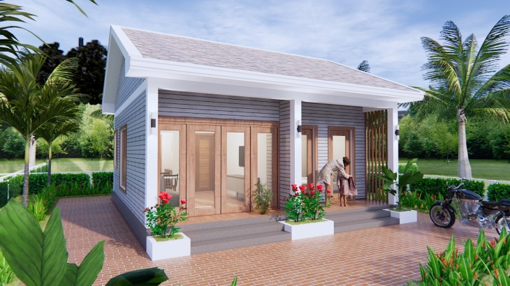 Small House Design 7x7 Meter 23x23 Feet Gable Roof 2