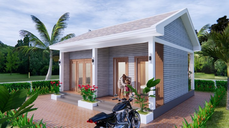 Small House Design 7x7 Meter 23x23 Feet Gable Roof 3