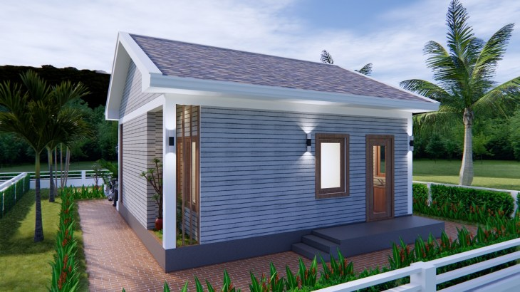 Small House Design 7x7 Meter 23x23 Feet Gable Roof 5