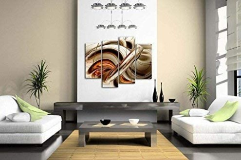 Orange Brown White Lines Wall Art Painting