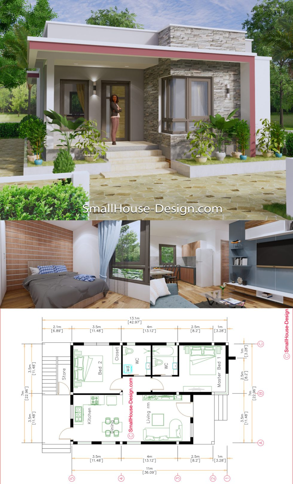 Small House Plans 7x11 Meters 23x36 Feet Terrace Roof Full Plans pin