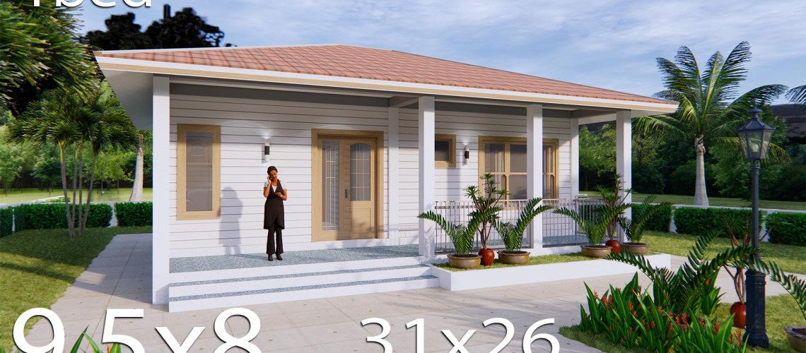 31x26 House Design Plans with One Bedroom Hip roof