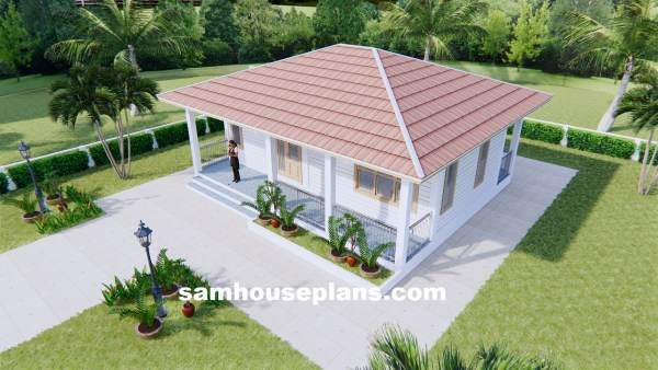 31x26 House design Plans with One Bedroom Hip roof front 3d roof