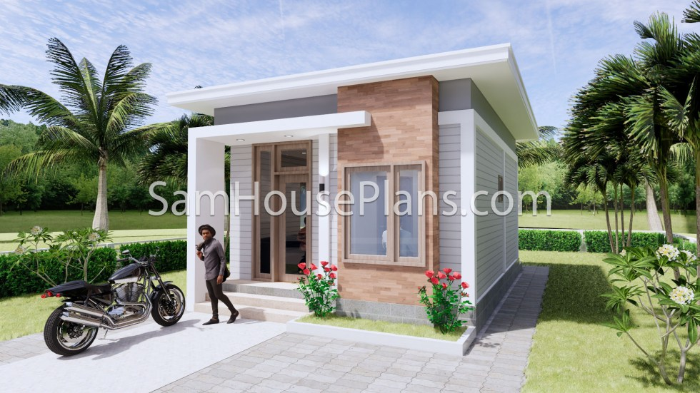 16x23 House Plans 5x7 Meters 2 Bedrooms Full Plans 3d 1