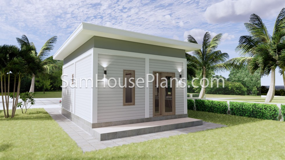 16x23 House Plans 5x7 Meters 2 Bedrooms Full Plans 3d 4