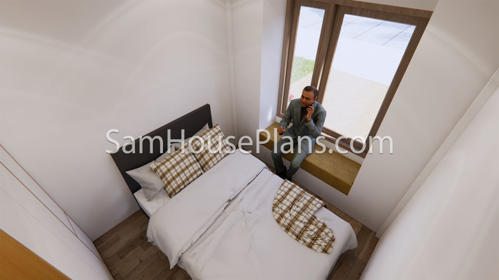 16x23 House Plans 5x7 Meters 2 Bedrooms Full Plans Bedroom 1
