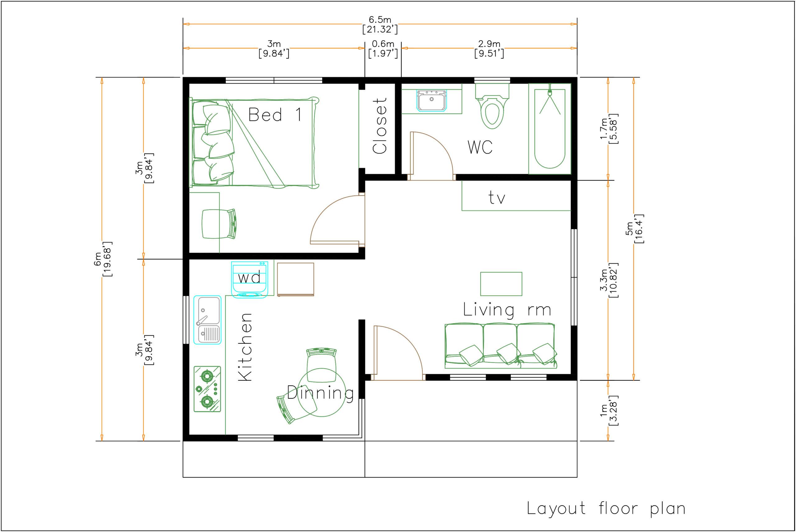 22x20 Feet Small Home Design 6 5x6 Meter Hip Roof Samhouseplans