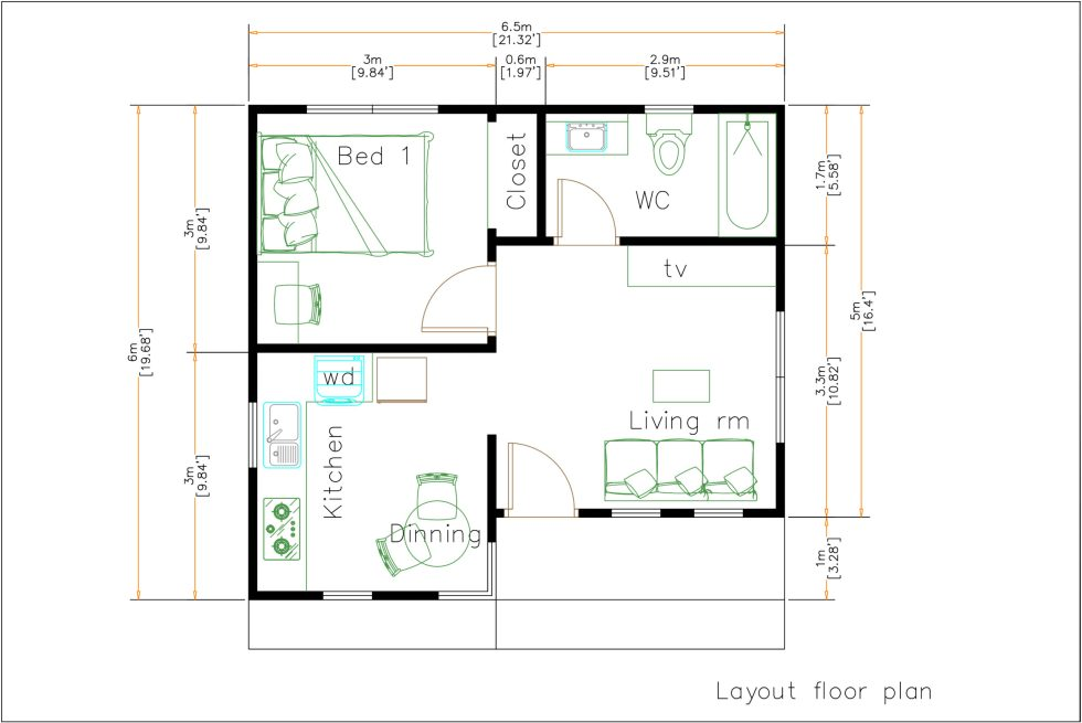 22x20 Feet Small Home Design 6.5x6 Meter Hip Roof floor plan
