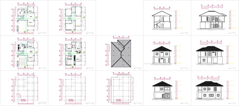 27x40 Feet House Plans 8x10 Meters 4 Bedrooms all