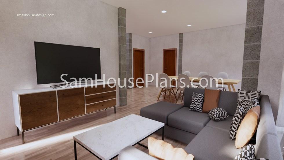27x40 House Plans 8x10 Meters 4 Bedrooms Living room