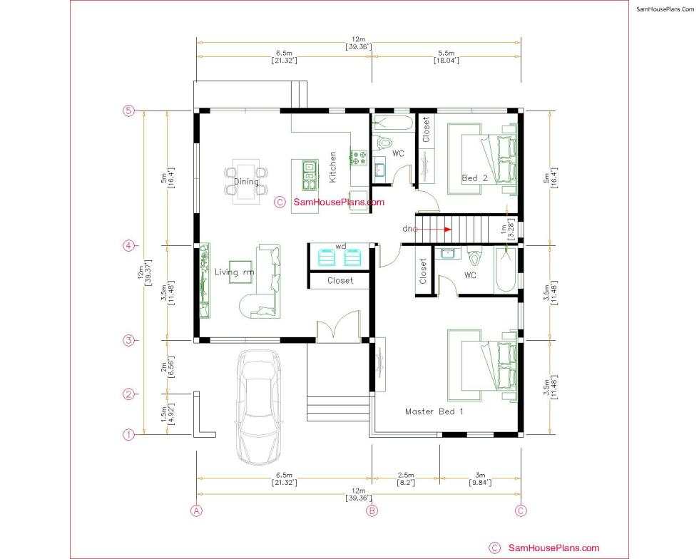 40x40 House Plans 12x12 meters 2 beds PDF Floor Plans Layout floor plan