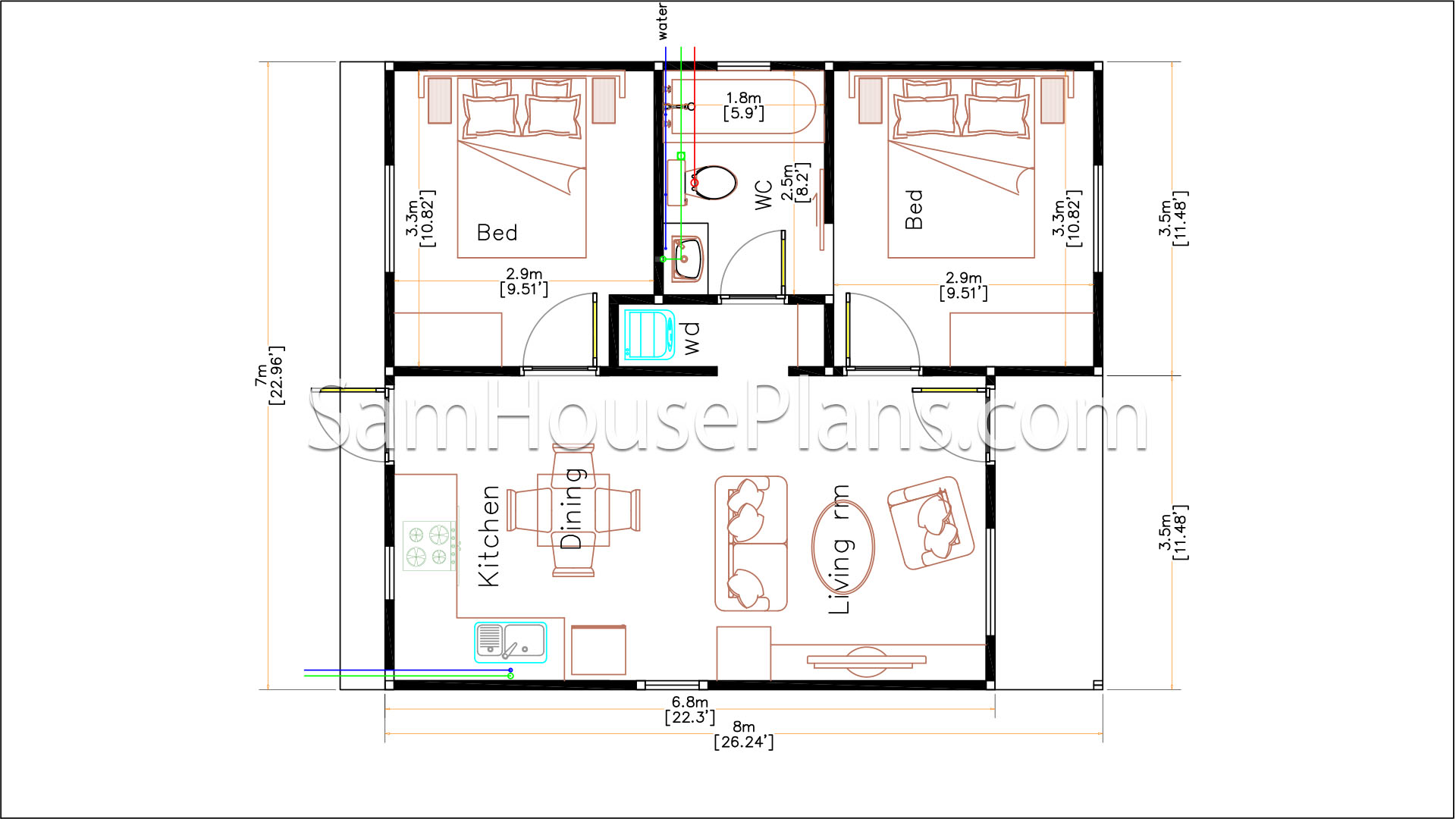 Small House Floor Plans 7x8 Meter 24x26 Feet 2 Bedrooms Full Plans floor plan