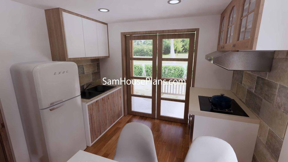 Simple House Design Plans 6x6 Meter 20x20 Feet 3d Kitchen