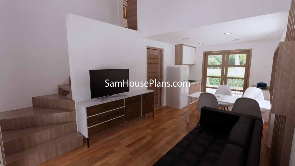 Simple House Design Plans 6x6 Meter 20x20 Feet 3d Living room
