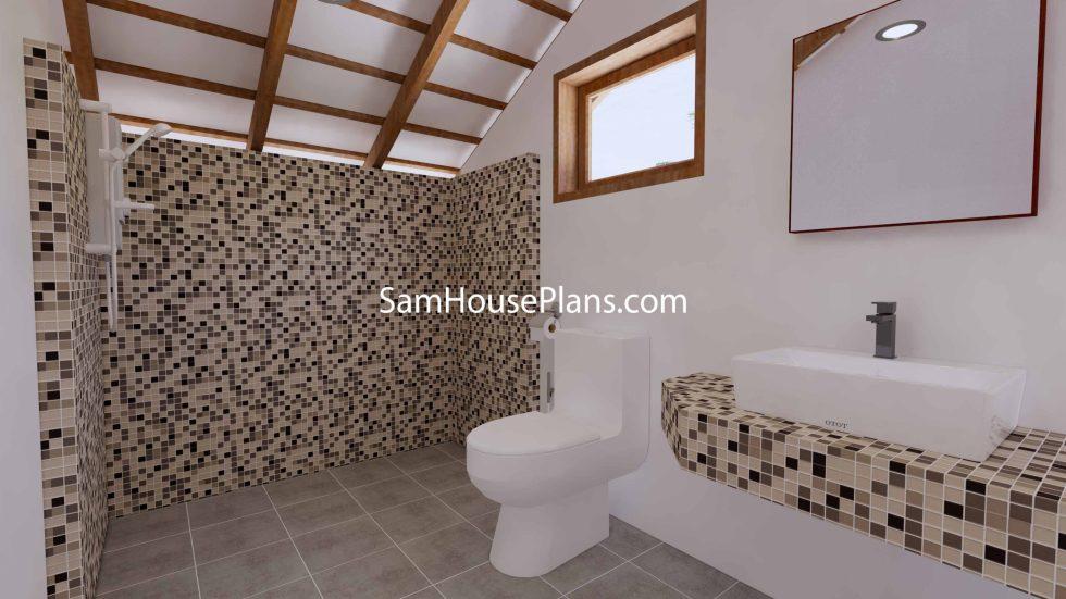 Simple House Design Plans 6x6 Meter 20x20 Feet 3d Master Bathroom 2