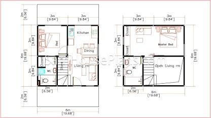 Simple House Design Plans 6x6 Meter 20x20 Feet layout plan