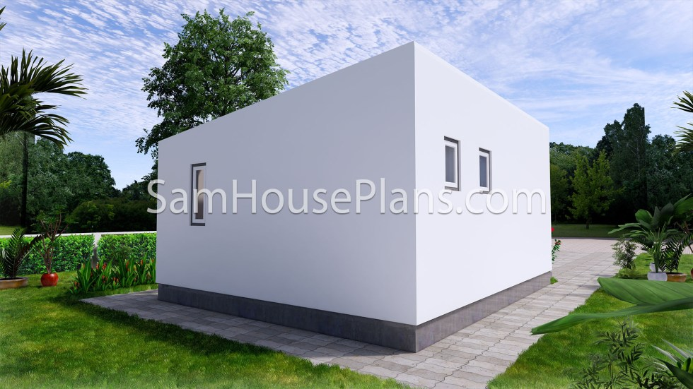 Tiny House Plans 5x6 Build From Steel Frame Back 3d view
